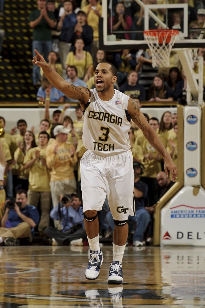 Jan 16, 2011; Atlanta, GA, USA; Georgia Tech Yellow Jackets guard Maurice Miller (3) reacts against the North Carolina Tar Heels during the first half at Alexander Memorial Coliseum. Mandatory Credit: Paul Abell-Abell Images