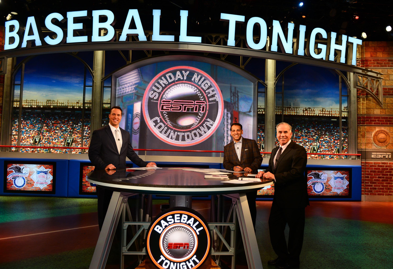 Bristol, CT - April 9, 2017 - Studio A: Mark Teixeira (l), Adnan Virk and Tim Kurkjian on the set of Baseball Tonight (Photo by Melissa Rawlins / ESPN Images)