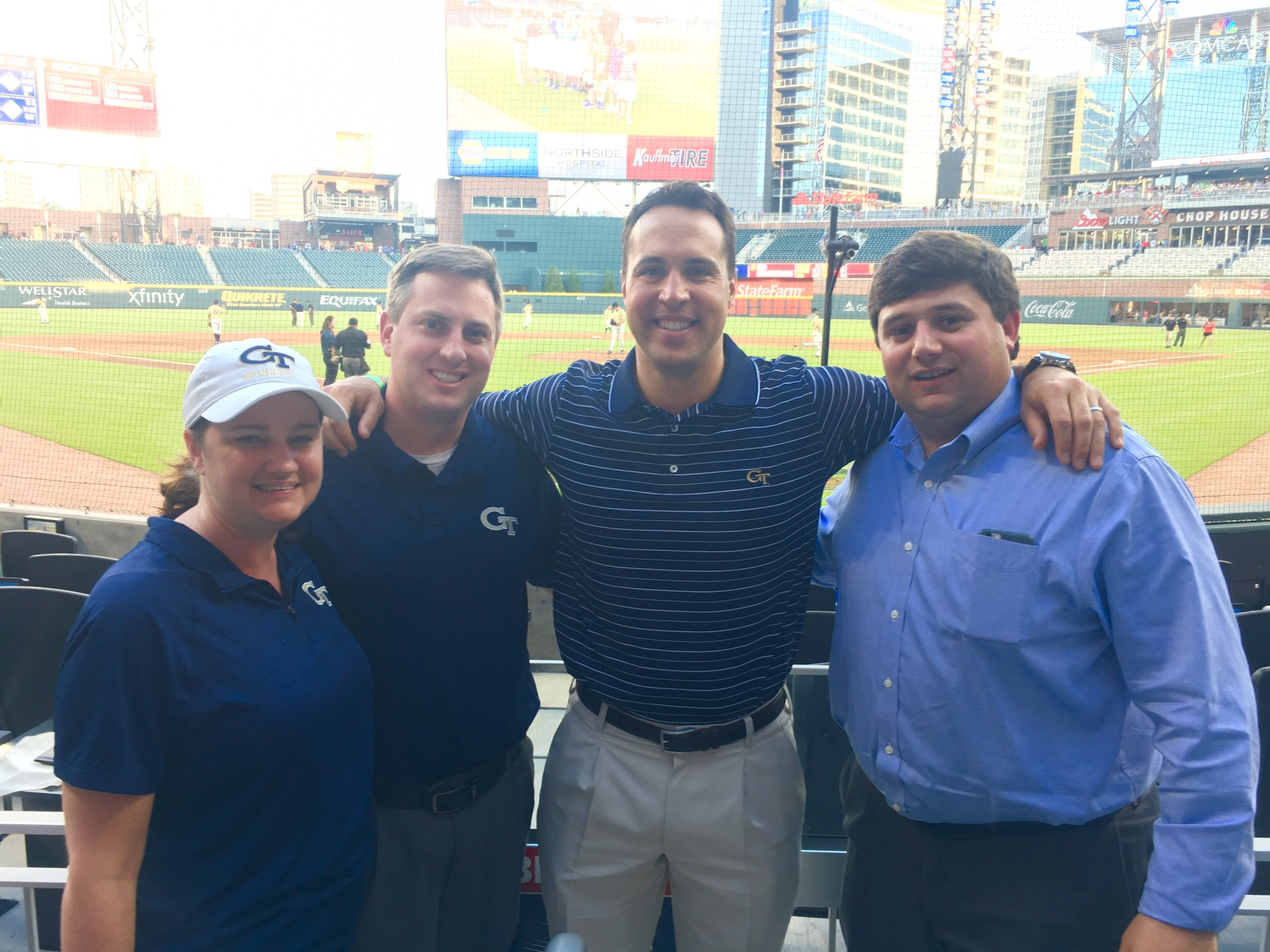 Mark Teixeira with members of the Georgia Tech staff at the 2017 Georgia Tech-Georgia game at SunTrust Park.