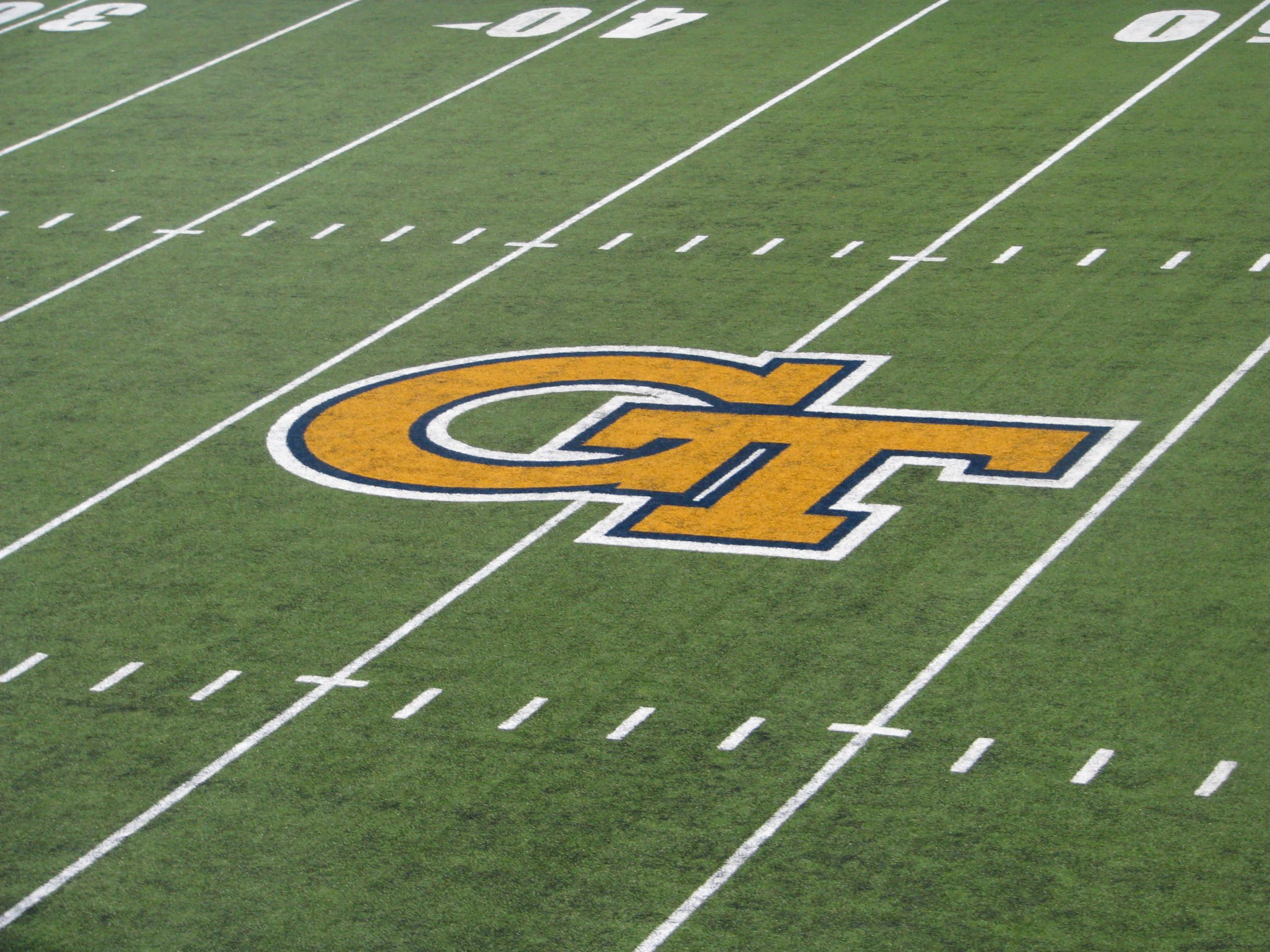GT Logo on indoor field - Georgia Tech Football Practice - 8/24/11