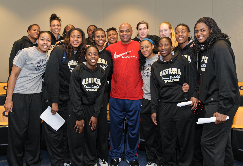NBA Hall of Famer Charles Barkley and the Georgia Tech Women's Basketball team.