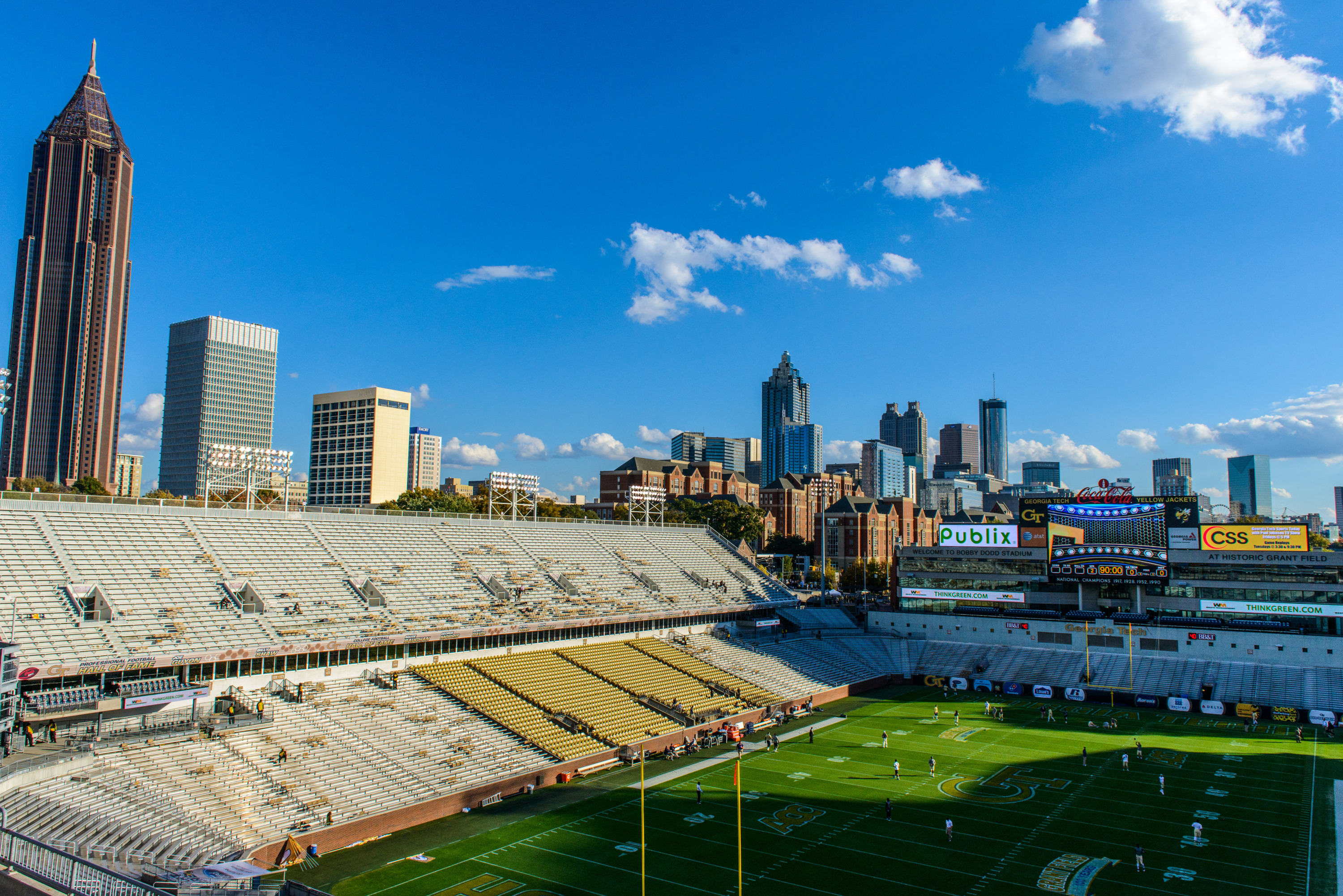 The Atlanta skyline is visible from the upper stands of Bobby Dodd Stadium prior to the game.