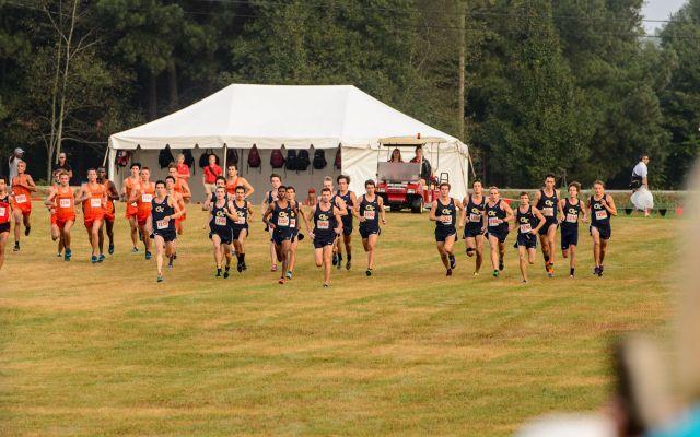 The Men's Cross Country team runs at the UGA Invitational