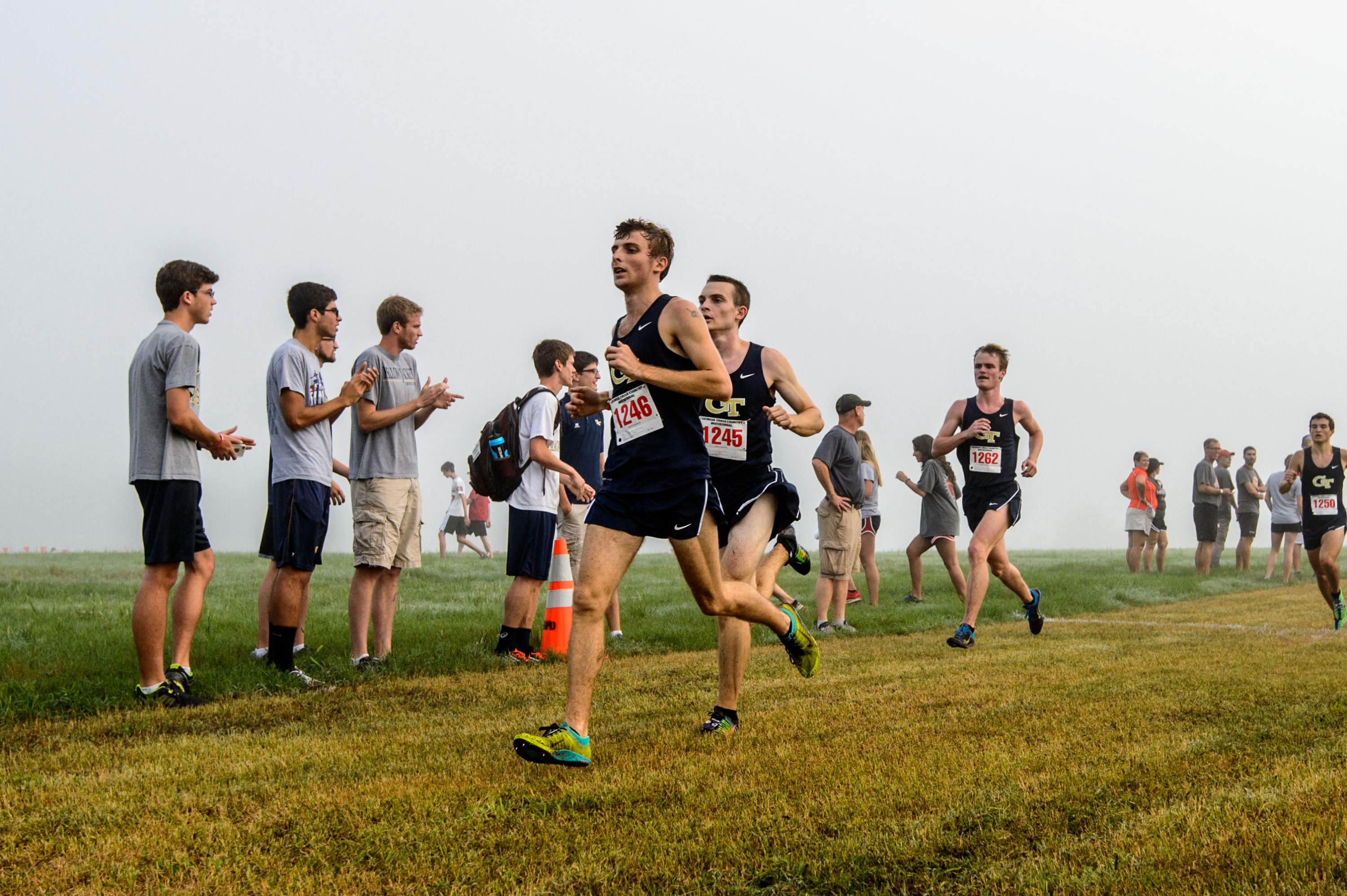 The Men's Cross Country team runs at the UGA Invitational