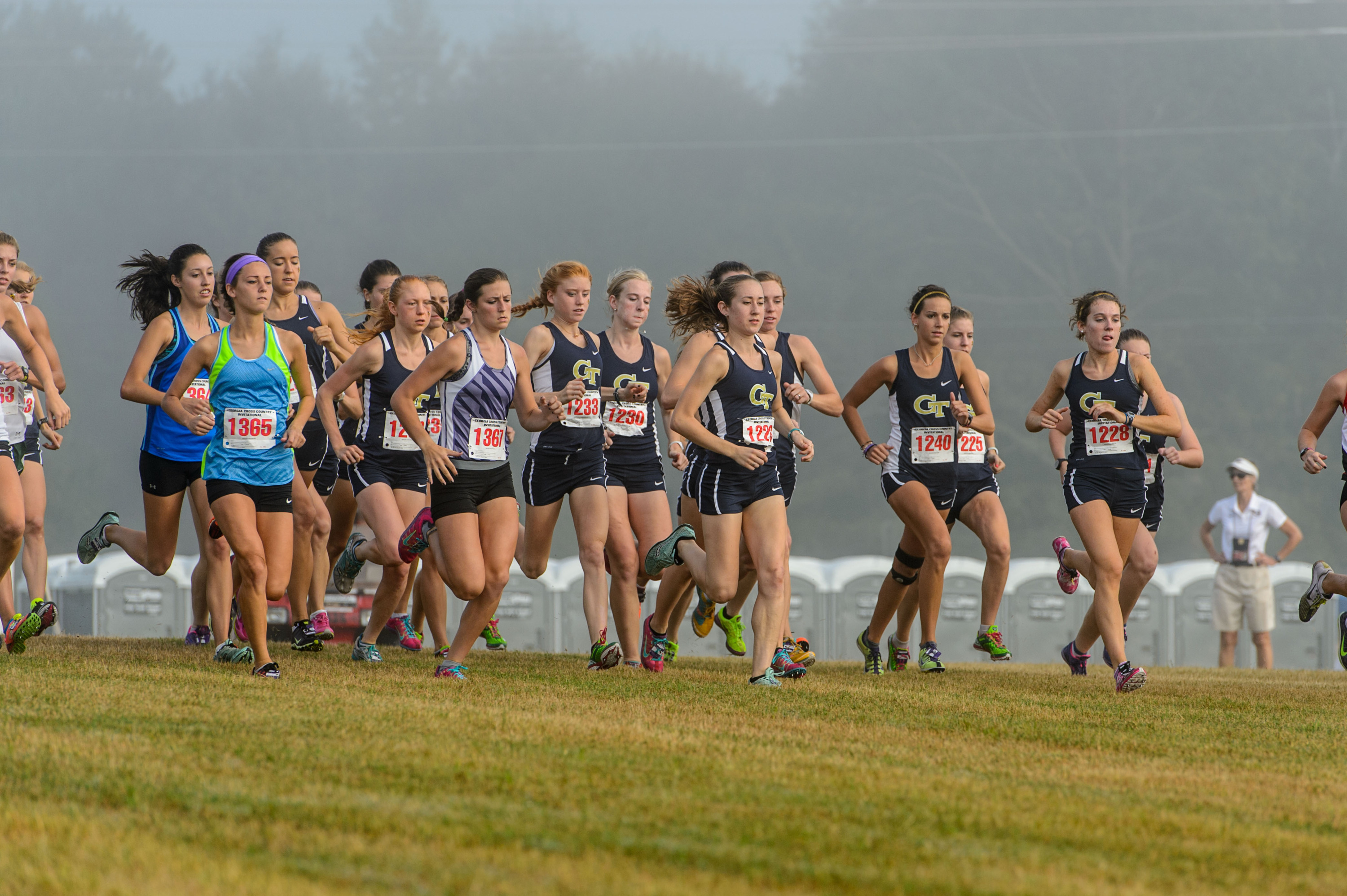 The Women's Cross Country team runs at the UGA Invitational