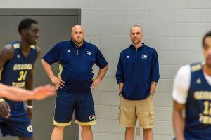 Julian Swartz & Dan Taylor at Georgia Tech men's basketball practice, Zelnak Center, October 11, 2016