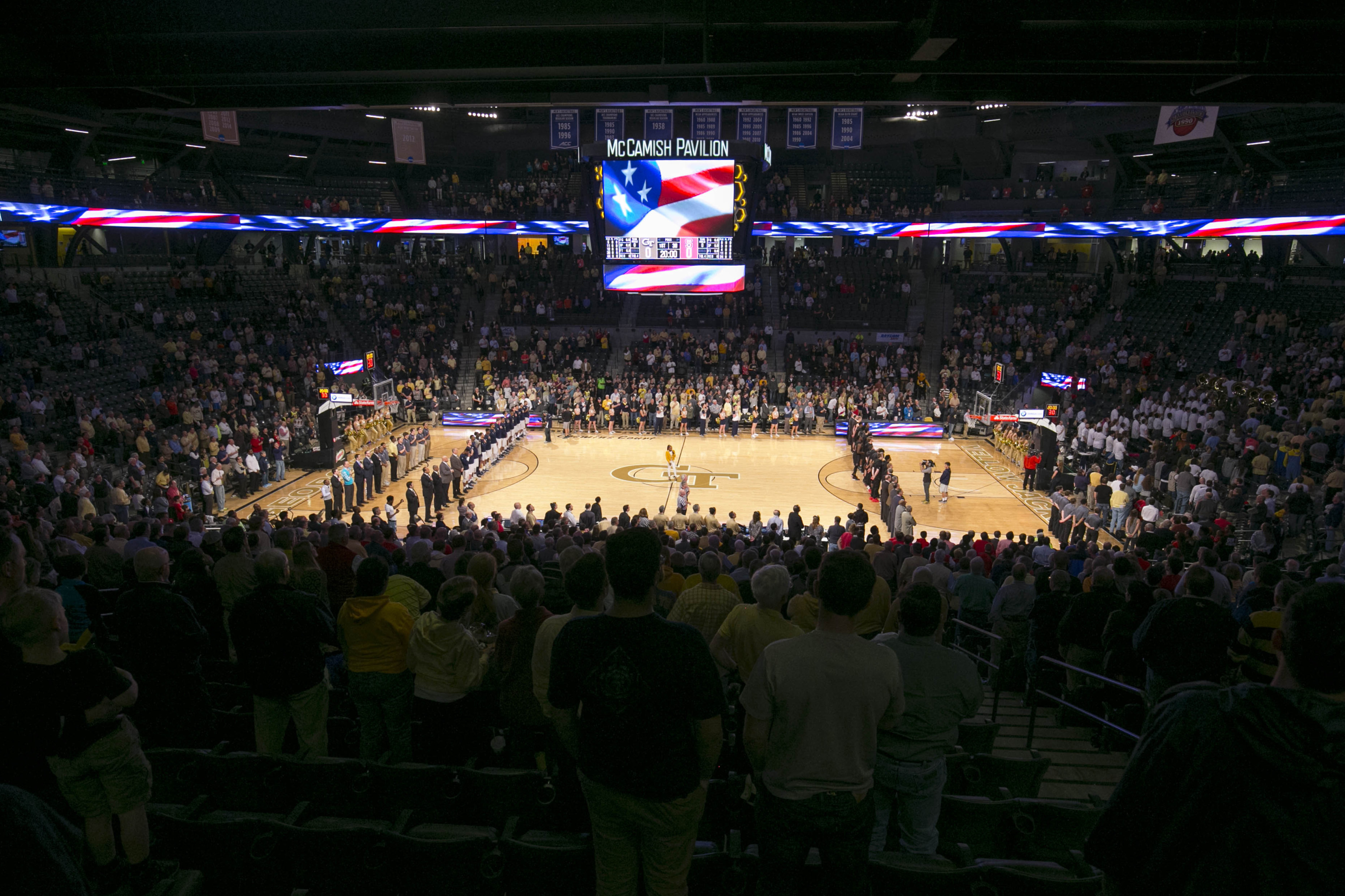 A general view of McCamish Pavilion during the national anthem prior to the game between the North Carolina State Wolfpack and the Georgia Tech Yellow Jackets. Credit: Jason Getz-USA TODAY Sports