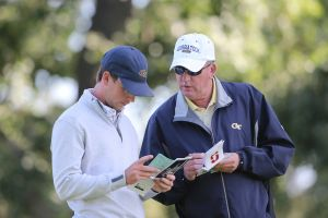 Andy Ogletree and head coach Bruce Heppler during the first round of the NCAA Stanford Regional, May 15, 2017