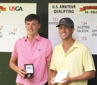 Luke Schniederjans (left) and Andy Ogletree advanced from the U.S. Amateur qualifier in Milton, Ga. Schniederjans was the medalist.