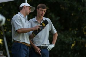 Assistant coach Drew McGee and Luke Schniederjans during the second round of the Golf Club of Georgia Collegiate, October 21, 2017