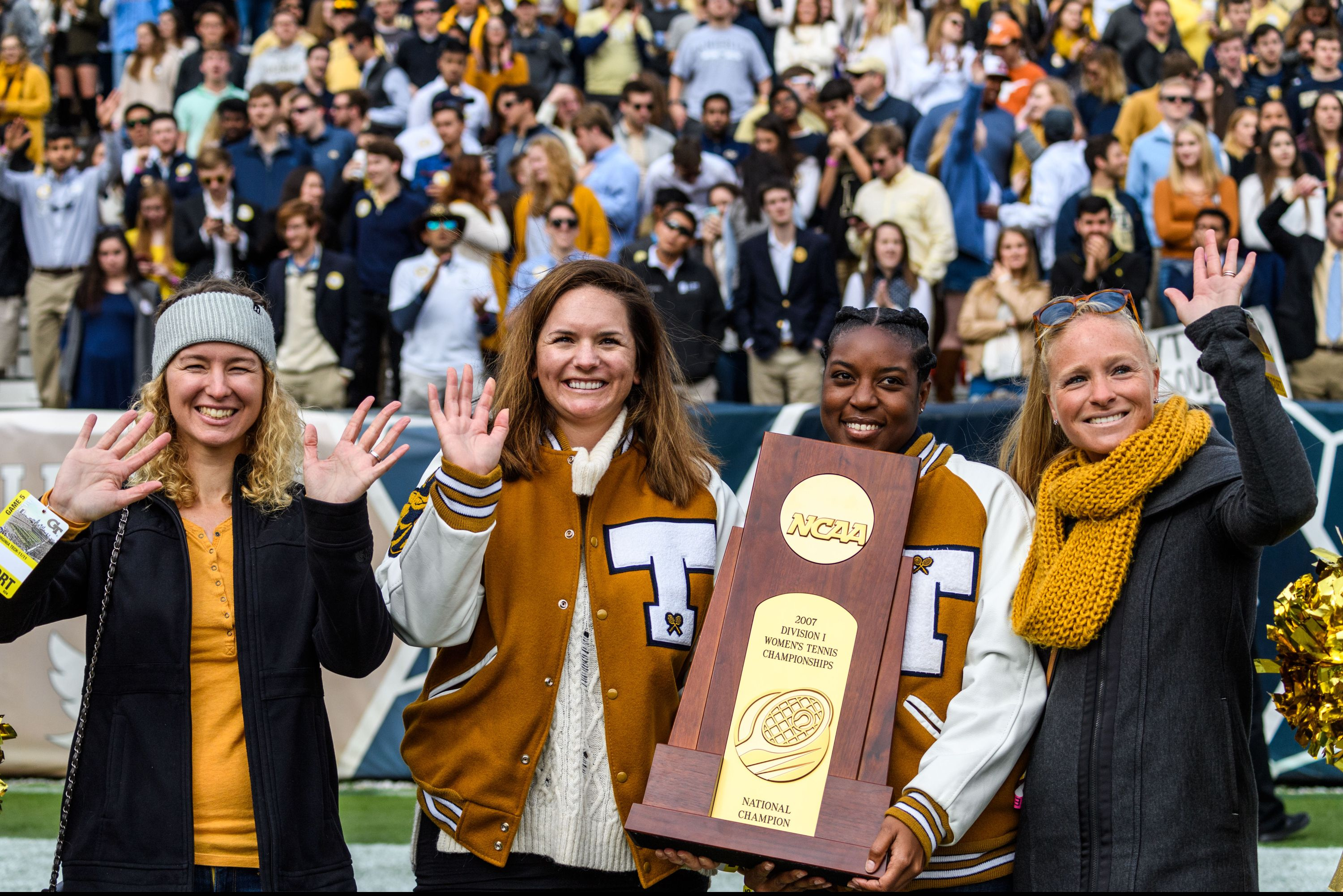 The 2007 National Championship Women's Tennis team was honored during the game for the 10th anniversary of their national championship. Kristi North (Miller), Alison Silverio, Whitney McCray, and Christy Lynch (Striplin) were at today's game