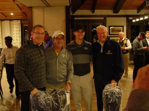 AD Todd Stansbury with alumnus Shawn Fowler, former Jacket Ollie Schninederjans and alumnus Sam Grice at the- Ramblin' Wreck Cup, November 12, 2017