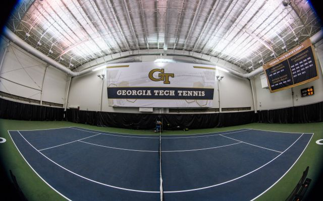 New Georgia Tech Tennis banner above court 6
