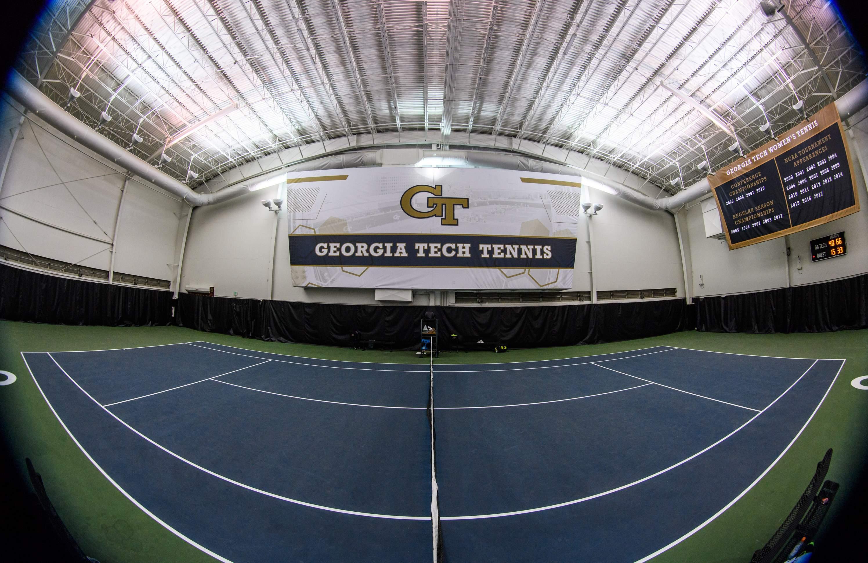 New Georgia Tech Tennis banner above court 6