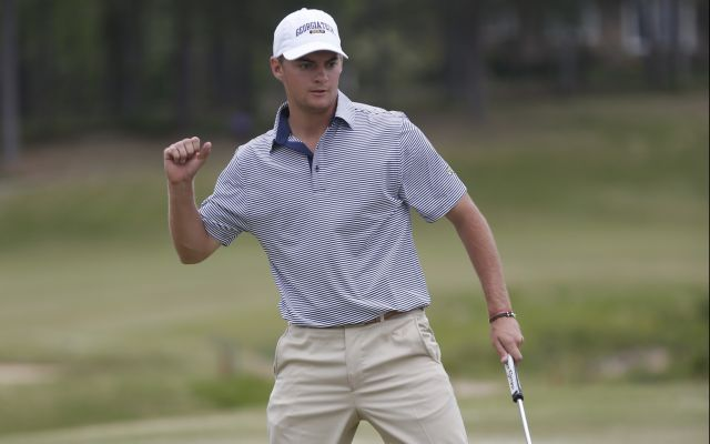 Georgia Tech sophomore Tyler Strafaci during the final round of the 2018 ACC Men's Golf Championship in New London, N.C., Sunday April 22, 2018. (Photo by Nell Redmond, theACC.com)