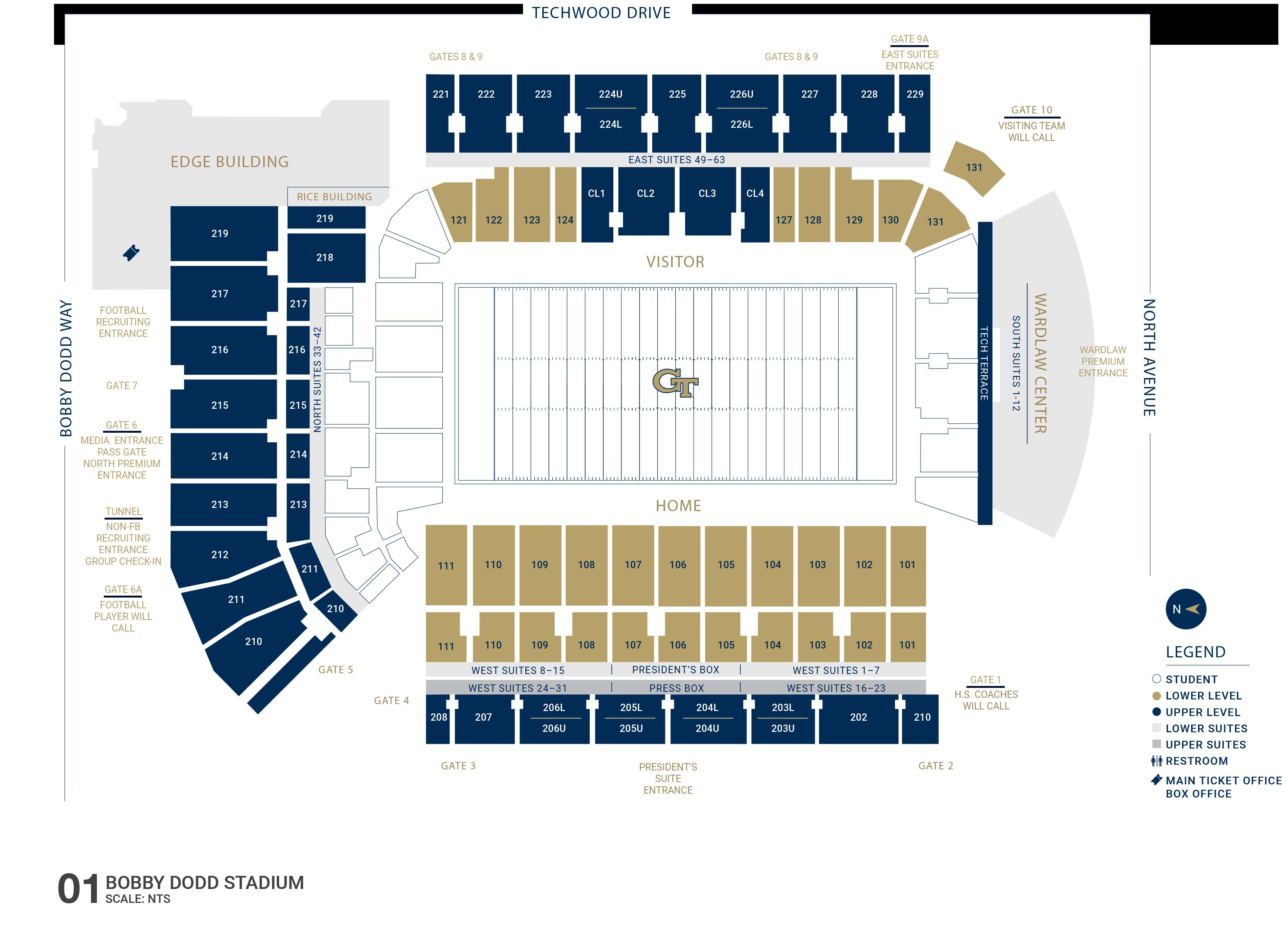Seating Charts Georgia Tech Yellow Jackets