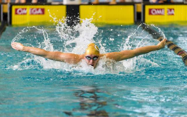 Lagerqvist's Gold Lifts Tech To Sixth At ACC Swimming Championship