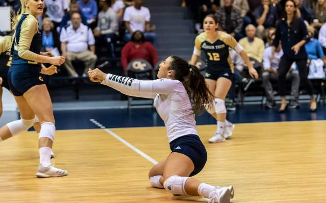 Volleyball Takes Down Virginia Tech, 3-0, On Senior Night