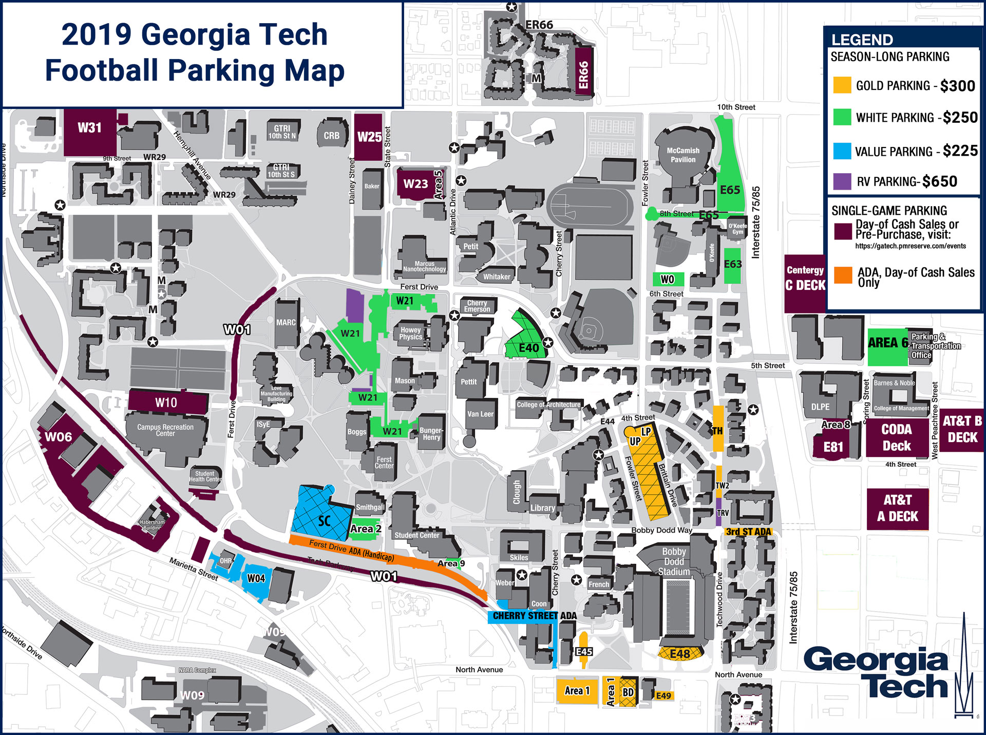 Map Of Georgia Tech Campus.Football Ticket Information Georgia Tech Yellow Jackets