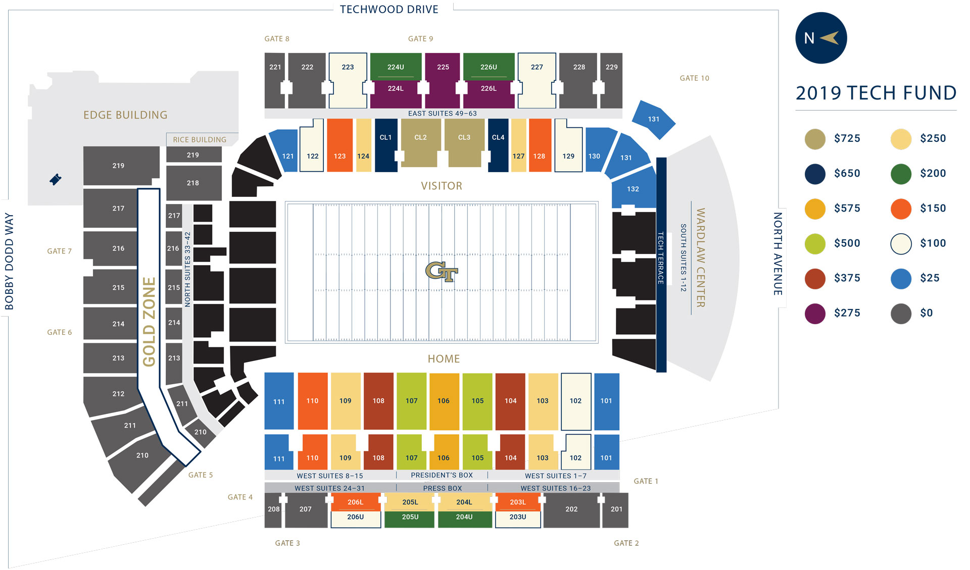 2019 Football Tech Fund Map Georgia Tech Yellow Jackets