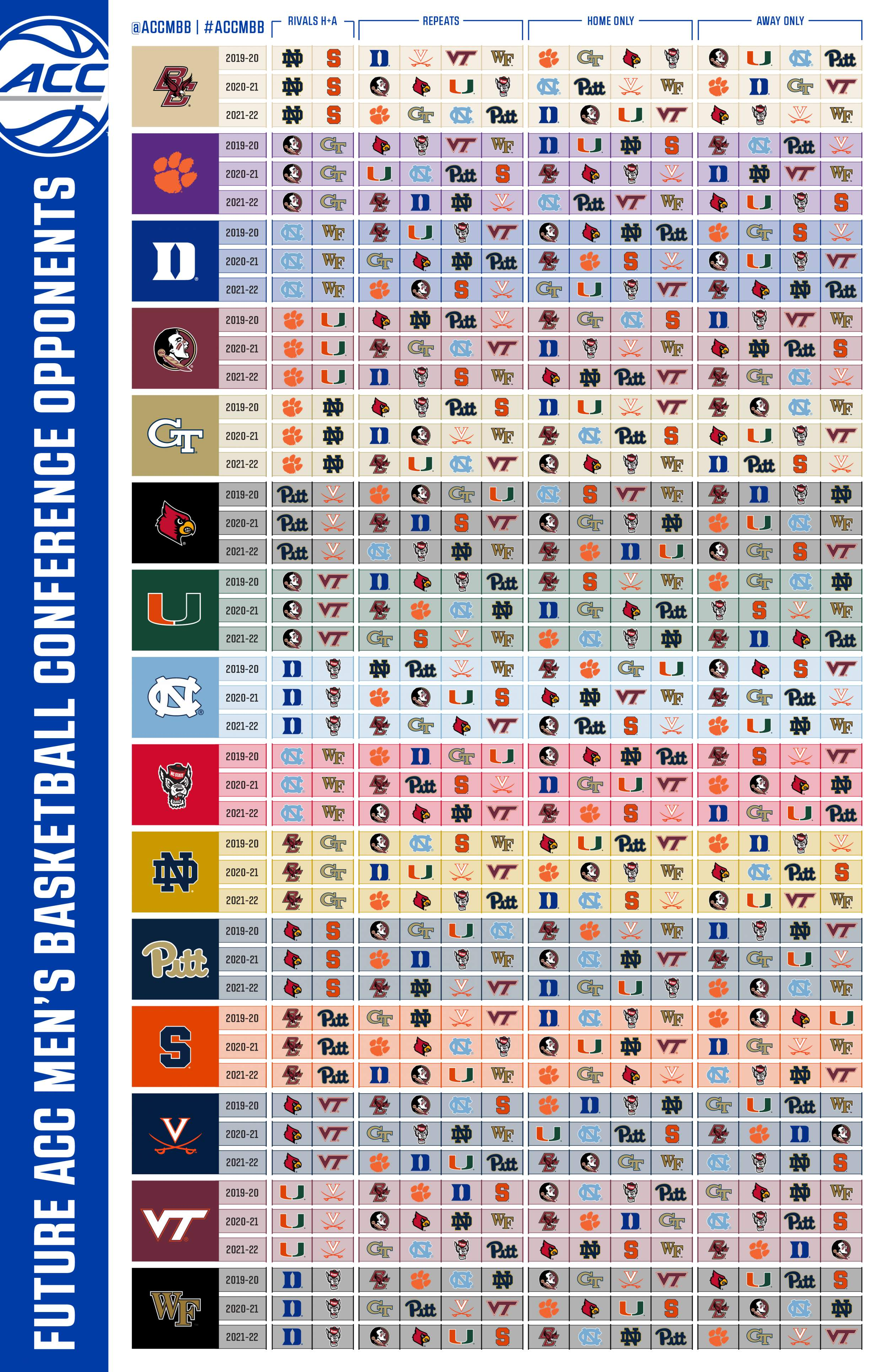 Duke Calendar 2021-22 ACC Releases 20 Game Men's Basketball Schedule Matrix – Men's