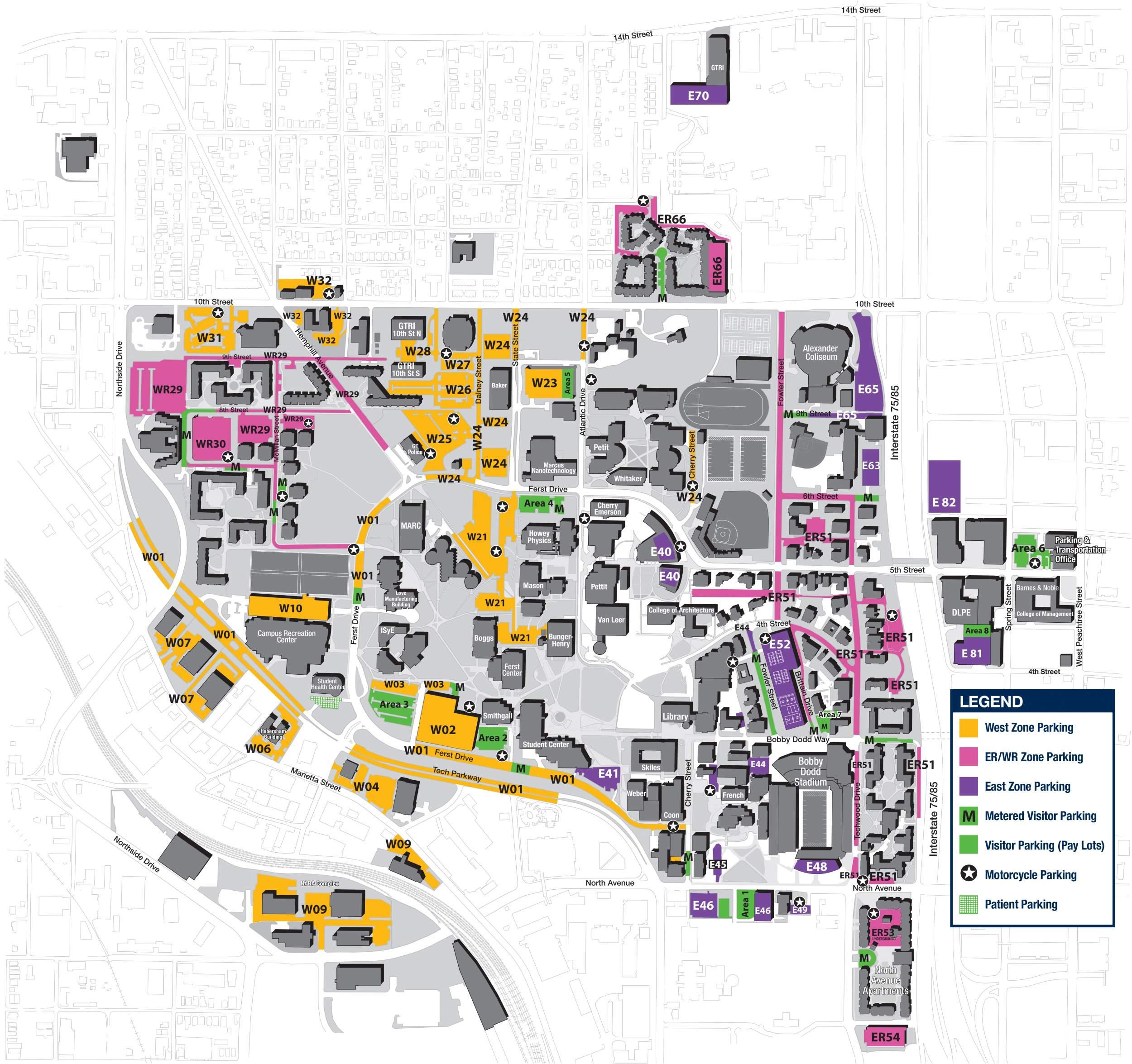 Georgia Tech parking map on iastate map, tech campus map, kennesaw map, morehouse map, uga transit map, georgia tech student center map, georgia tech boggs building map, georgia tech location map, north georgia technical college campus map,