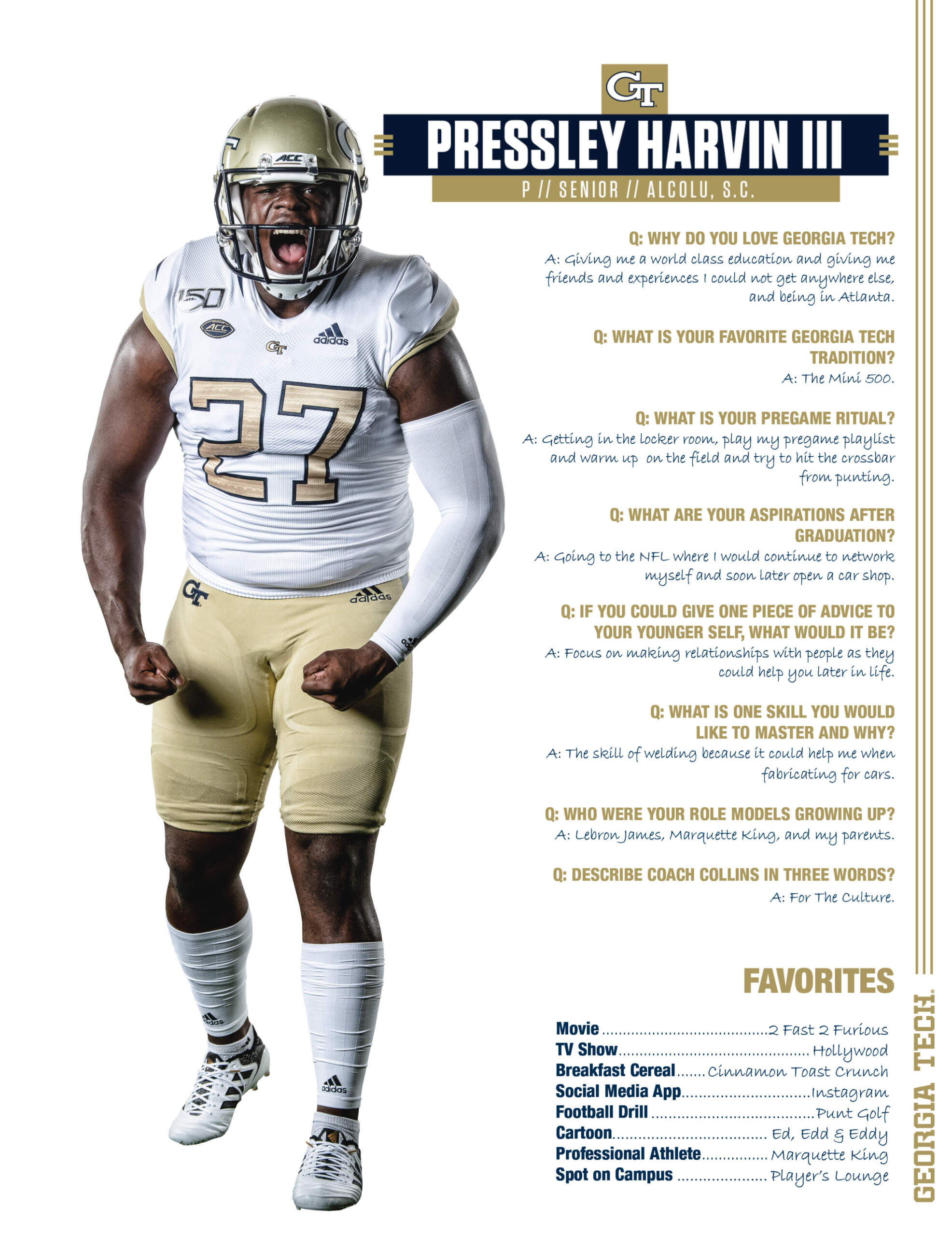 Get To Know Pressley Harvin Iii Football Georgia Tech Yellow Jackets