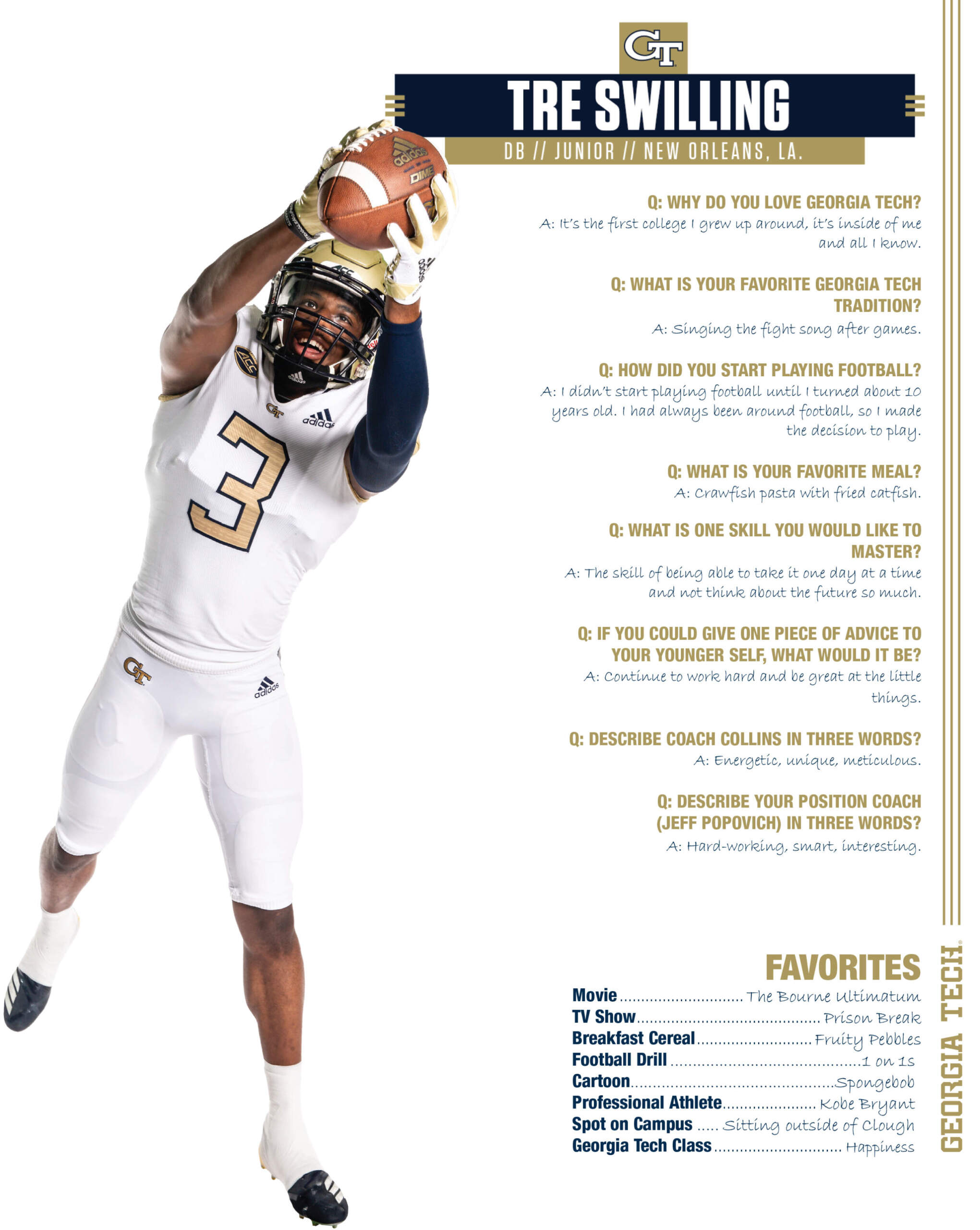 Get To Know Tre Swilling Football Georgia Tech Yellow Jackets